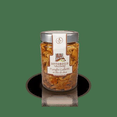Funghi Galletti in olio di oliva della Azienda Sottobosco Valtaro, in vendita sullo shop Parma e Gusto by Prosciuttificio San Nicola