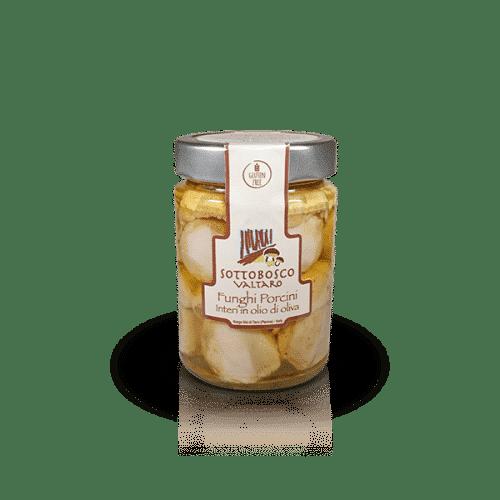 Funghi Porcini Interi in olio di oliva della Azienda Sottobosco Valtaro, in vendita sullo shop Parma e Gusto by Prosciuttificio San Nicola