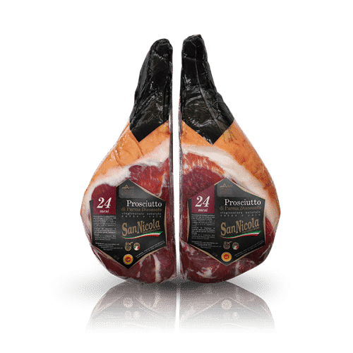 Prosciutto di Parma San Nicola 24 Mesi Disossato Pressato in 2 mezzi Sottovuoto in vendita sullo shop Parma e Gusto by Prosciuttificio San Nicola