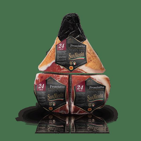 Prosciutto di Parma San Nicola 24 Mesi Disossato Pressato in 3 pezzi Sottovuoto in vendita sullo shop Parma e Gusto by Prosciuttificio San Nicola