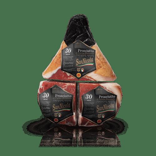 Prosciutto di Parma San Nicola 30 Mesi Disossato Pressato in 3 pezzi Sottovuoto in vendita sullo shop Parma e Gusto by Prosciuttificio San Nicola