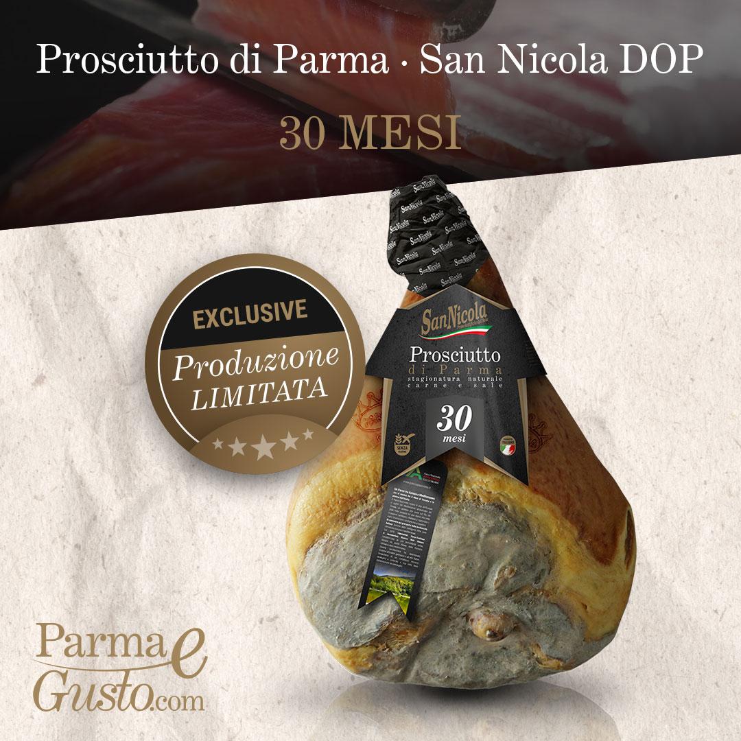 Prosciutto di Parma San Nicola DOP 30 Mesi, intero con osso. Shop online di PARMAeGUSTO by San Nicola.