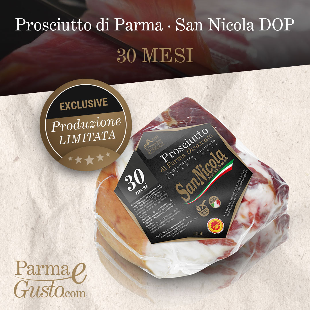 Prosciutto di Parma San Nicola DOP 30 Mesi, in trancio. Shop online di PARMAeGUSTO by San Nicola.